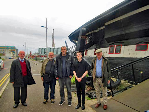 CILT group with Kyle Penman(second from right) in front of HMS Unicorn in Victoria Dock, Dundee