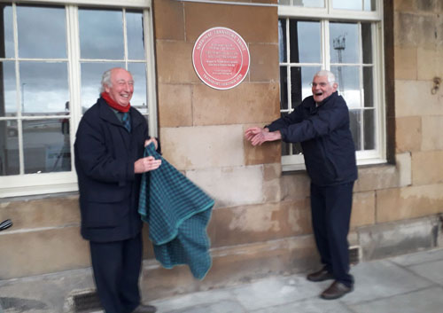 Unveiling a Red Wheel at Burntisland, with on the left Ian Archibald of the Burntisland Heritage Trust and on the right John Cameron, Vice-President of the National Transport Trust