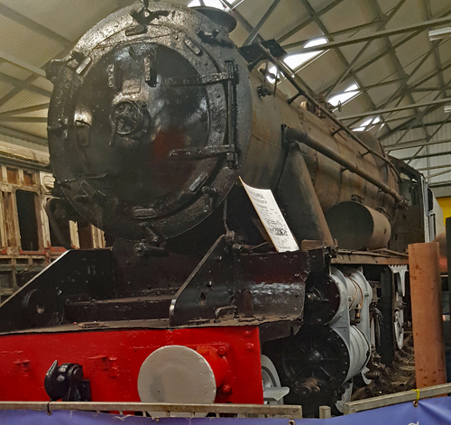 Locomotive 45170 in the museum at the Bo'ness and Kinneil Railway