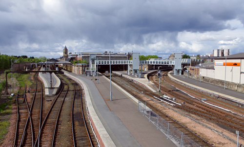 A view of Perth Station showing the platforms and track layout. The line to Dundee is on the right.