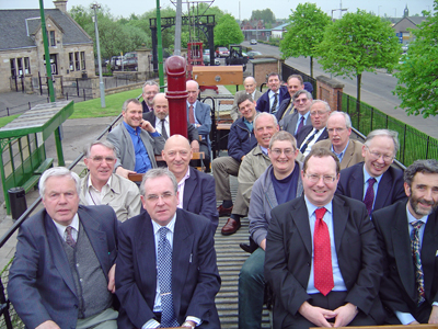 Members enjoying a trip on the preserved Lanarkshire Tramways open top tram No. 53 at Summerlee Heritage Center during the AGM
