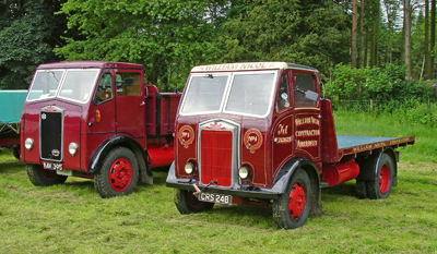 An Albion A24 lorry (CRS 248) and a 1954 Albion Tipper (KAV 395) seen at a rally.