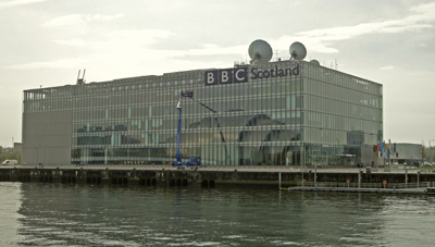 A view of the new BBC Scotland Headquarters building at Pacific Quay in Glasgow.