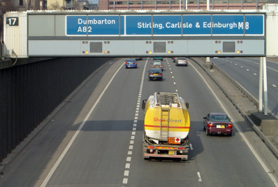 One of the overhead gantries on the M8 Motorway