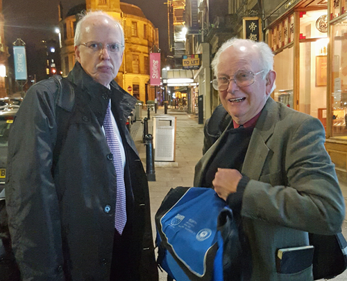David Bruce (right) with Scottish Region Chariman Ken Thompson (left) in stirling city centre.