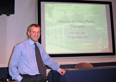 Derek Halden, one of the Scottish Region Committee members, addressing the September 2003 meeting in Glasgow.
