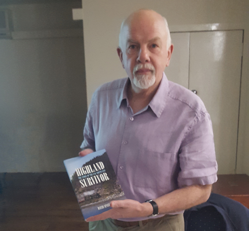 David Spaven with his book Highland Survivor: the story of the Far North Line