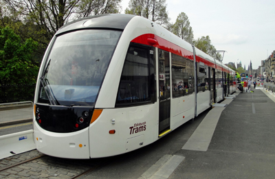 The new - one of Edinburgh's new trams in Princes Street.<
