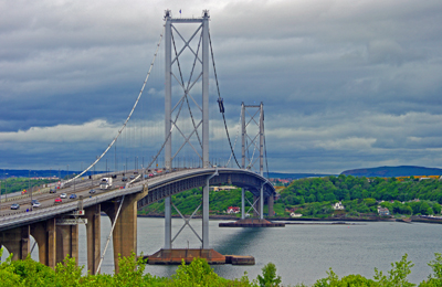 A view of the Forth Road Bridge from South Queensferry.