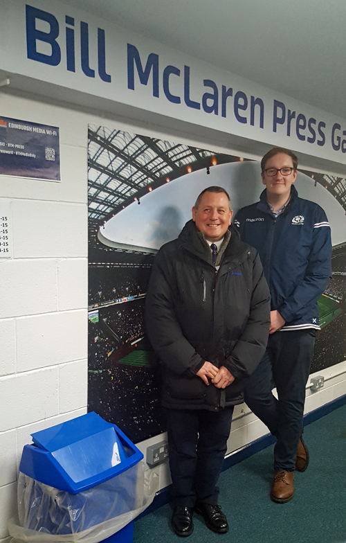 Scottish Region Committee Member Graham Atkins (font) with our host, Alex Thomson of the Scottish Rugby Union.