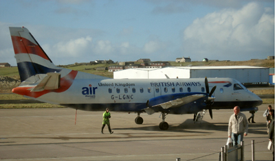 One of the aircraft that operates to and from Sumburgh.