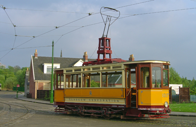 The old- a Glasgow tram seen at Summerlee Museum.