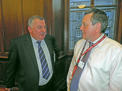 George Mair (left) speaking to scottish Committee member Graham Atkins (right).