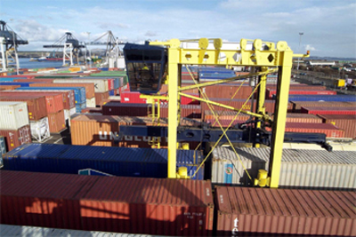 A view of the container terminal at the Port of Grangemouth.
