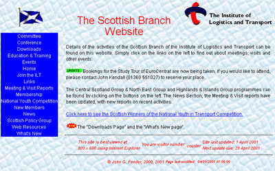 How the CILT Scottish Region Website looked in 2000.