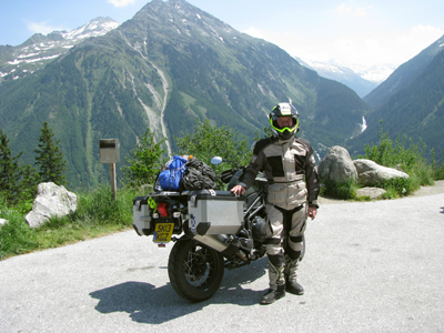 Keith Evans with his motorcycle on a European journey.