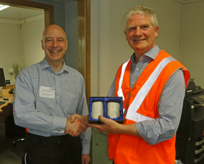 The Scottish Region Chairman, Keith Evans (left) presenting Paul Bain with a pair of the Scottish Region's engraved glasses.