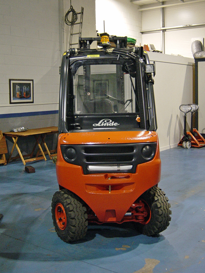 The latest model of Lansing Linde fork lift truck.