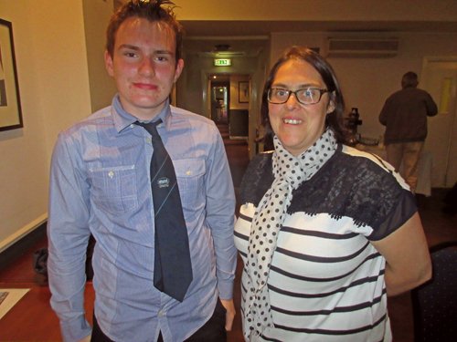 Mark Adamson (left) and Amanda Kilburn. Mark Adamson is the youngest person ever to present to CILT Scotland!