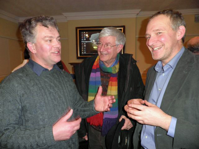 Martin Ford (left) with Britain's first elected Green parliamentarian Robin Harper (in his trademark scarf) and CILT's current Scottish chairman Derek Halden (right)