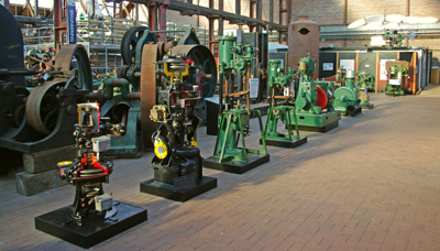 The display of pumps and engines at the Scottish Maritime Museum.