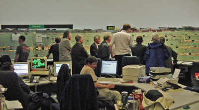 Members being shown round the signalling centre at Waverley Station.