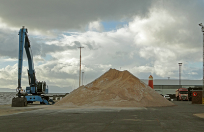 A large pile of salt recently delivered to Ayr