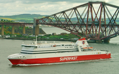Superfast X, the ferry visited by the members with the Forth Railway bridge in the background.