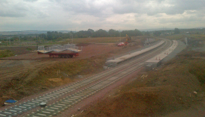 The new station on the new railway alignment at Shawfair.