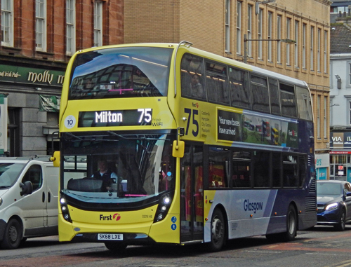 One of First Glasgow's latest Euro 6 standard buses in Glasgow.