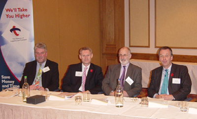 Some of the speakers (L to R) Dr. Bob McLellan, Neil Greig, Rodney Mortimer and Ewan Brown, CBE