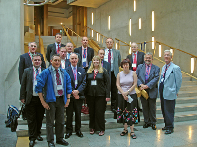 Scottish Region members inside the new Scottish Parliament Building.