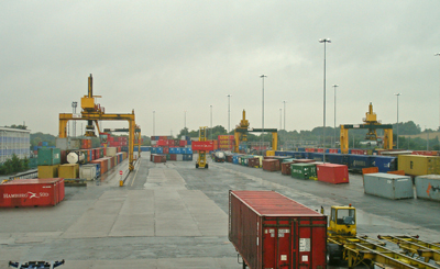 A view of Freightliner Intermodal's Coatbridge Container Terminal.
