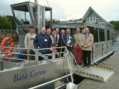 Institute members on board the Bàta Grèine at Balloch (William Mykura, Donald MacCuish, Richard Taylor, Alan Carmichael, John Fender, Dave Court, John Yellowlees, William Murchison, Tom McGuire.)
